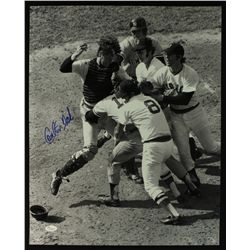 "Carlton Fisk Signed Red Sox ""Fight with Thurman Munson"" 16x20 Photo (JSA COA)"