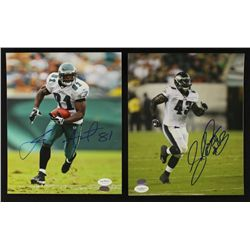 Lot of (2) Eagles Signed 8x10 Photos With Leonard Weaver & Jason Avant (JSA)