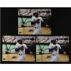 Lot of (3) Manny Mota Signed Dodgers 8x10 Photos (SI COA)