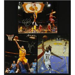 Lot of (3) Signed Lakers 8x10 Photos With Brown, Farmar & Powell (UDA)
