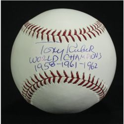 "Tony Kubek Signed OML Baseball: Inscribed ""World Champions 1958-1961-1962"" (SI COA)"