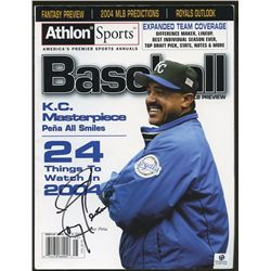 Tony Pena Signed Royals Baseball Magazine (GA COA)