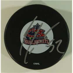Adam Foote Signed Blue Jackets Logo Puck (GA COA)
