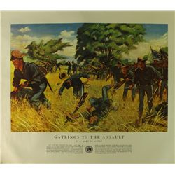 "Vintage ""US Army In Action"" Spanish American War Poster Published in 1953: ""Gatlings To The Assault"""