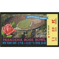 Vintage 1958 Rose Bowl Football Ticket Stub