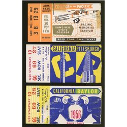 Lot of (3) 1950s College Football Ticket Stubs with Baylor, California, Pittsburgh