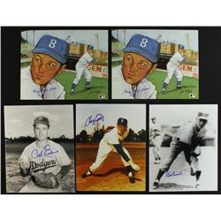 Lot of (5) Signed 1955 Dodgers 8x10 Photos (PA LOA)