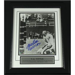 "Y.A. Tittle Signed Giants 13x16 Custom Framed Photo: Inscribed ""HOF 1971"" (SOP COA)"