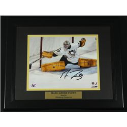 Marc-Andre Flury Signed Penguins13x16 Custom Framed Photo (SOP COA)