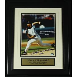 Livan Hernandez Signed Marlins13x16 Custom Framed Photo (SOP COA)