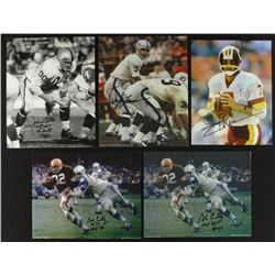 Lot of (5) Signed Football 8x10 Photos With (2x) Lilly, Theismann, Otto, Lamonica (PA LOA)