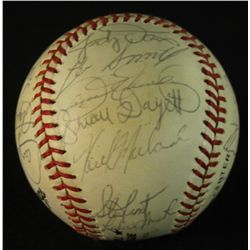 1985 Chicago Cubs Team ONL Baseball Signed by (25) With Sandberg, Cey, Eckersley (PA LOA)