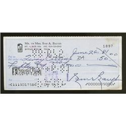 Sammy Baugh Signed Vintage Personal Bank Check (PA LOA)