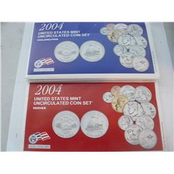 2004 MINT SET, P&D PLUS QUARTERS, 22 COINS TOTAL