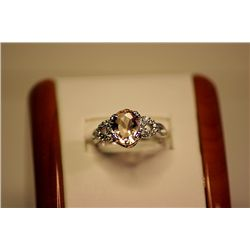 Lady's Fancy 14kt White Gold Brownish Sapphire & Diamond Ring