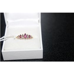 14 K YELLOW GOLD RING 3 MARQUIS RUBIES AND 6 5PT ROUND DIAMONDS SIZE 6