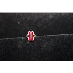 14 K WHITE GOLD WITH RED STONE
