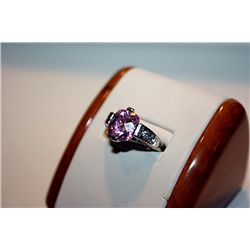 Lady's Fancy 14 kt White Gold Pink Sapphire & Diamond Ring