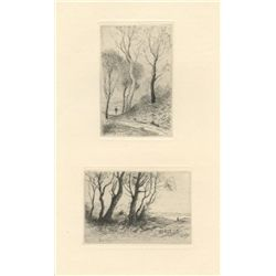 "Henri Harpignies Two Original Drypoints ""Paysages"""