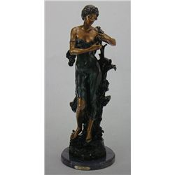 """Flower Girl"" Bronze Sculpture - A.  Moreau"