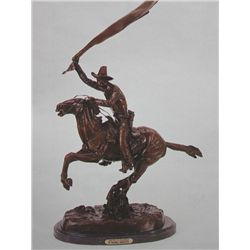 """Bronco Saddle"" Bronze Sculpture -  Remington"