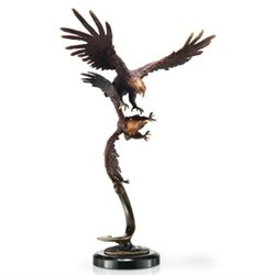 Flying Eagle Pair Bronze Sculpture