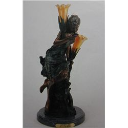 """Golden Girl"" Bronze Sculpture Lamp - A. Moreau"
