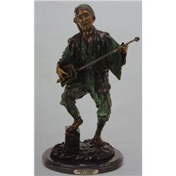 """Japanese With Mandolin"" Bronze Sculpture - Bouret"