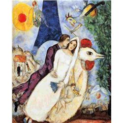 "Marc Chagall ""Bride & Groom Of Eiffel Tower"""