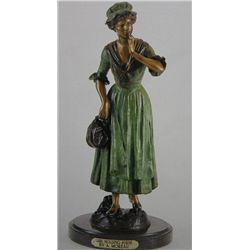 """Girl Holding Purse"" Bronze Sculpture - A. Moreau"
