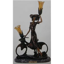 """The Bicycle Spring Time"" Bronze Sculpture Lamp Inspired - Icart"