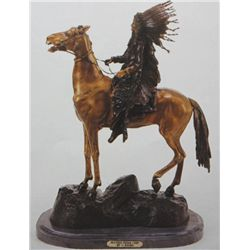 """Mounted Indian Chief"" Bronze Sculpture - Kauba"