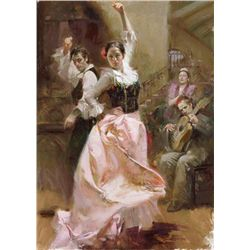 "Pino Hand Signed Giclee On Canvas ""Dancing In Barcelona"""