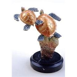 Sea Turtle Pair Bronze Sculpture