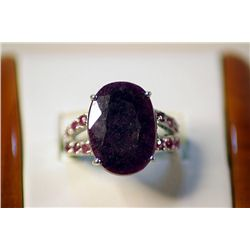 Unisex Fancy Sterling Pigeon Blood Ruby Ring