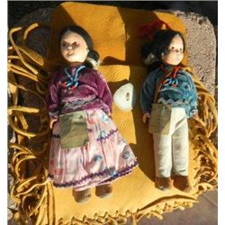Two Navajo Dolls with Deer hide Bag