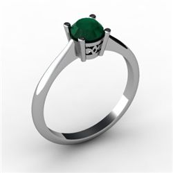 Emerald 0.48 ctw Ring 14kt White Gold
