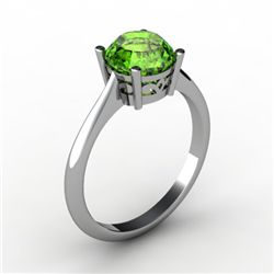 Peridot 1.25 ctw Ring 14kt White Gold