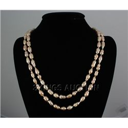"443.68CTW 46"" PEACH LONGSTRAND FRESHWATER PEARL NECKLAC"