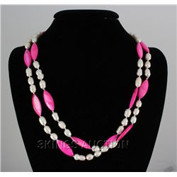 "46"" PINK LONGSTRAND FRESHWATER PEARL&CAPIZ NECKLACE PHI"