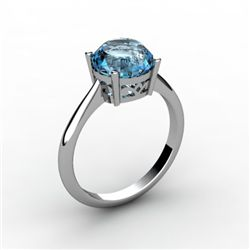 Aqua Marine 2.40 ctw Ring 14kt White Gold