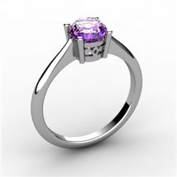 Amethyst 0.70 ctw Ring 14kt White Gold