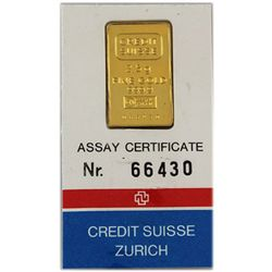 Fine Gold 2.5 g Assay Cert. No. 66430 Credit Suisse