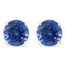 Genuine 2.10 ctw SapphireStud Earring 14k 0.86g