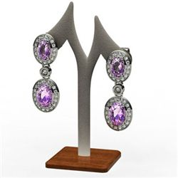Amethyst 3.40 ctw Diamond Dangling Earring 14k W/Y Gold