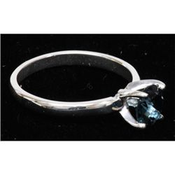 Natural 0.85ctw London Blue Topaz .925 Sterling Ring