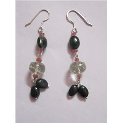 NATURAL 25.90 CTW BLACKONEX, SEMIPRECIOUS EARRING .925