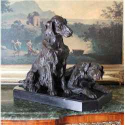 Elegant Bronze Sculpture Pair of Retriever Dogs