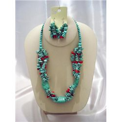 Stunning Handcrafted Turquoise and Coral Necklace Earri