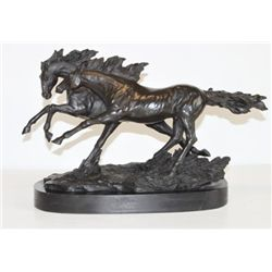Beautiful Bronze Sculpture Two Running Horses